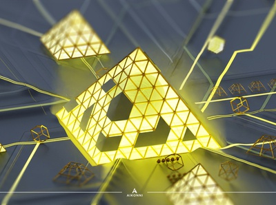 Abstraction VIII gold blender renders blender 3d digital illustration 3d illustration concept art abstract 3d circuit isometric architecture paris louvre glass triangle pyramid abstraction