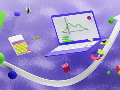 Statistics 3D Illustration calculator arrow mac laptop statistics 3d animation 3d illustration animation motion graphics ui 3d motion design illustration