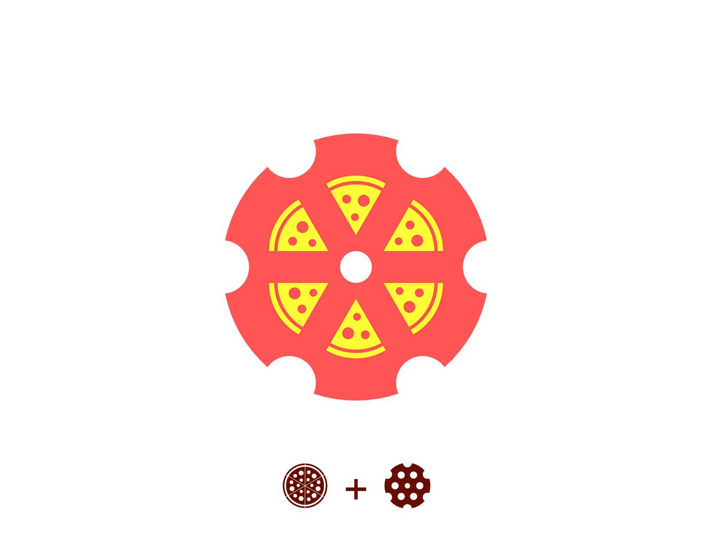 Pizza-Revolver Logo revolution logo concept concept branding pizza delivery revolver pizza hut pizza menu pizza logo pizza box vector design logo brand identity logo design graphic design