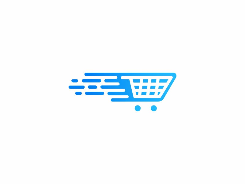 Online Water Store Logo Concept blue logo exploration store sales shopping cart drop logo design logo concept flow liquid water