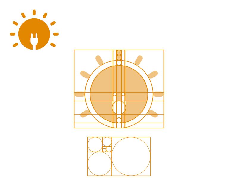 Solar Power Logo Concept logo grid inspiration energy phi golden ration plug solar power sunlight sun solar eclipse solar panel solar ui concept branding design logo brand identity logo design graphic design