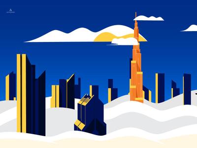 Burj Khalifa burj khalifa tall buildings skyscrapers environments poster design duotones clouds arabian emirates uae hotel booking travel dubai graphic illustration design illustration graphic design