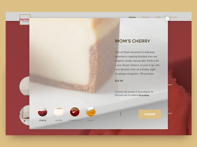 Mom's Cheesecake - Product Page e-commerce shopping product page cheesecake