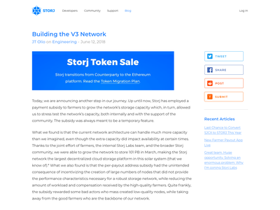 Storj Blog bootstrap news article blog post blog