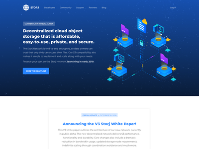 Storj Homepage Redesign whitepaper blockchain cryptocurrency decentralized distributed storj storage cloud blockchain home page landing page