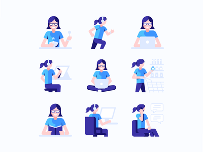 Daily Routines girl illustration people illustration illustration vector illustration vector art icons flat