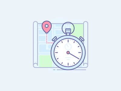 First Illustraticon pin map clock watch sidorov yaroslav destination onboarding delivery stopwatch timer icon illustration