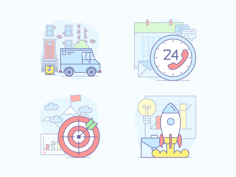 Best of Illustraticons Vol. 1 icons business launch goal delivery illustraticons illustrations yaroslav sidorov
