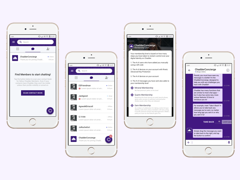 Secure Chat App UI by Brooke Altman for Jakt on Dribbble