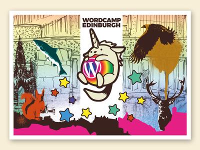 WordCamp Edinburgh 2017 - Postcard red deer salmon golden eagle squirrel swag scott monument wappuunicorn wapuu illustration edinburgh wordcamp wordpress