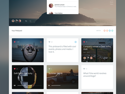 Chronos Pinboard clean simple user interface application flat website app web ui icon icons dashboard