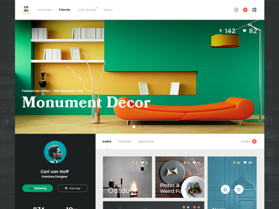 Cado - Inspiration Board social user interface colors has dropshadows website web product ui icons icon simple