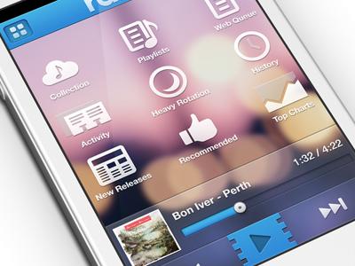Rdio (Retina UI) player music radio ios rdio psd ui website web inspiration buttons icons mobile transparent tooltip tooltips retina iphone