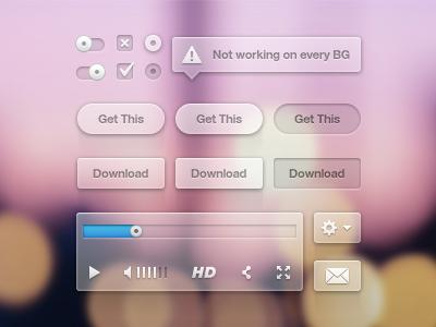 Transparant UI Kit Freebie freebie ui ui kit icons icon psd inspiration web webdesign website vector player video