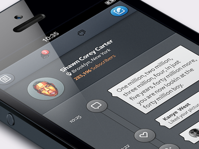 One of my Projects ios iphone social timeline notification buttons web