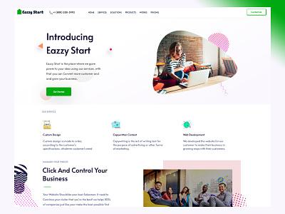 Eazzy Start illustration ux simple design branding ui homepage strap responsive
