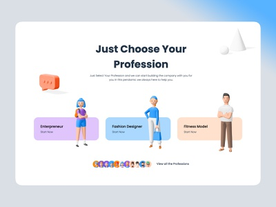 choose your profession illustration ux simple design ui responsive strap 3d modeling 3d illustration 3d art 3d