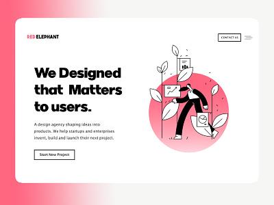 Red Elephant Design digital agency advertising clean simple homepage illustration branding amptus ux ui design strap responsive