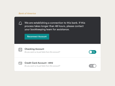Account Connections accounts connections bank interface ui
