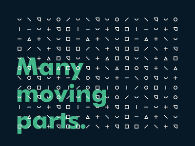 Many moving parts typography poster shapes geometric circles squares avenue