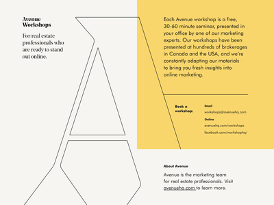 Avenue Workshops brochure type yellow workshop avenue brand print