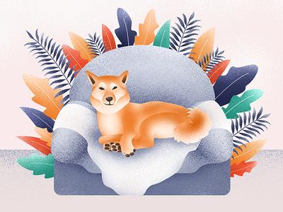 Like A Boss leaves art design graphic chair dog shiba shiba inu texture grainy illustration