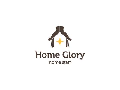 Home Glory logo concept nanny housekeeper agency home staff logo care glory house