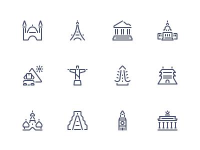 Landmark icons icons graphic vector pictogram apps web landmark tourism travel lions