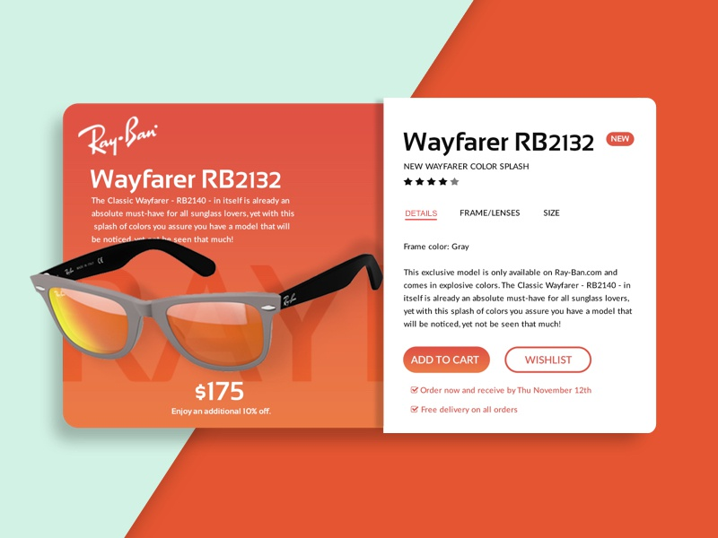 Product Card buy ray ban glasses store shop ecommerce card product card product