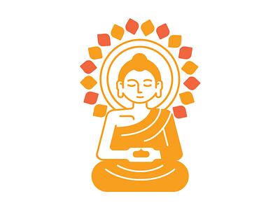 Bun Logo icon illustration meditation calm zen minimal fresh design mudra buddha logo