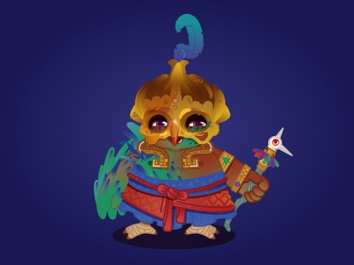 Mage feather priest monk werebird magic owl bird mage gamedesign characterdesign illustration