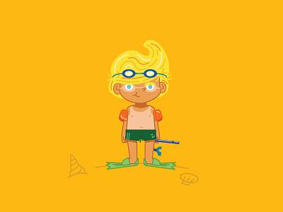 Summer Lines perfecthair vectorart vector goldenboy characterdesign illustration illustrator tan sun snorkeling vacation summer