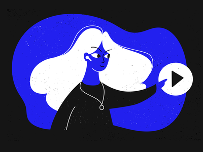 Flat Design Illustration: Woman Character with Play Button lofi minimal music button play woman illustration woman character design characterdesign characters character illustration design illustration flat illustration flat  design flatdesign flat design flat