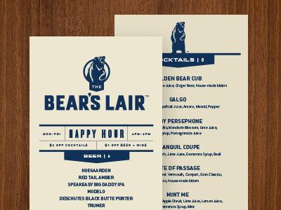 Bear's Lair Menu layout typography food restaurant menu