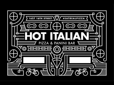 Hot Italian Decals stroke bicycle bike pizza thick monostroke sticker