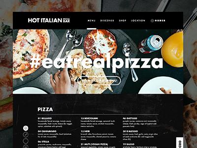 Hot Italian Menu Page scroll buttons navigation website menu
