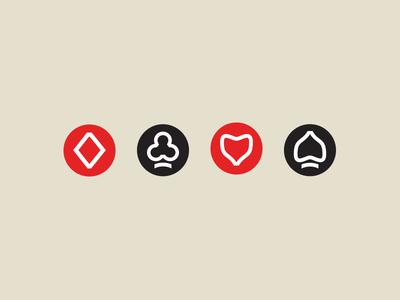 Minimal Playing Card Suits icons symbols minimal cards