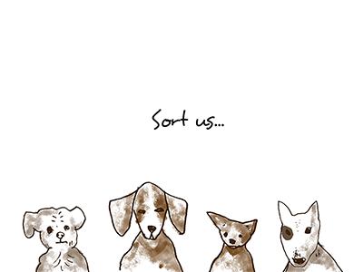 Sort us beagle dogs sorting newsletter illustration