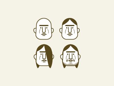 Triangular facial avatars  vector facial beard avatar