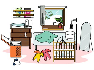 Bedroom game setting baby bedroom