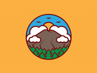 Tongariro Crossing logo design stickermule summer clouds thicklines trees mountain vector tongariro crossing