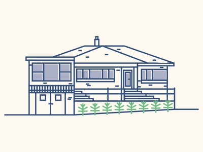 A New Zealand Home new zealand auckland thicklines bushes strokes police lines illustration house city building