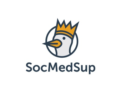 SocMedSup Logo thicklines social media logo king icon duck bird