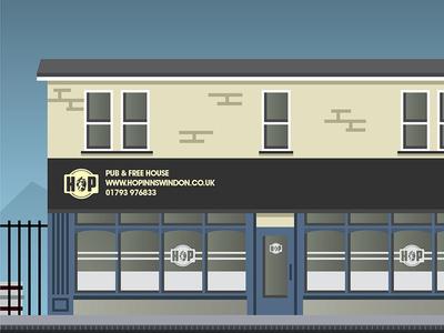 The Hop Artwork pub vector town swindon illustration beer building