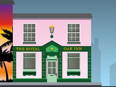 The Royal Oak Inn Artwork pink pub vector town swindon illustration beer building