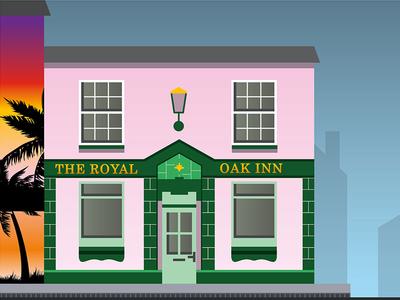 The Royal Oak Inn Artwork pink pub vector town swindon illustration beer building