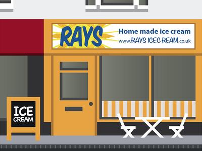 Rays Ice Cream Artwork shop vector town swindon illustration icecream building