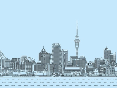 Auckland Skyline thicklines lines blue city sea new zealand auckland skyline poster design