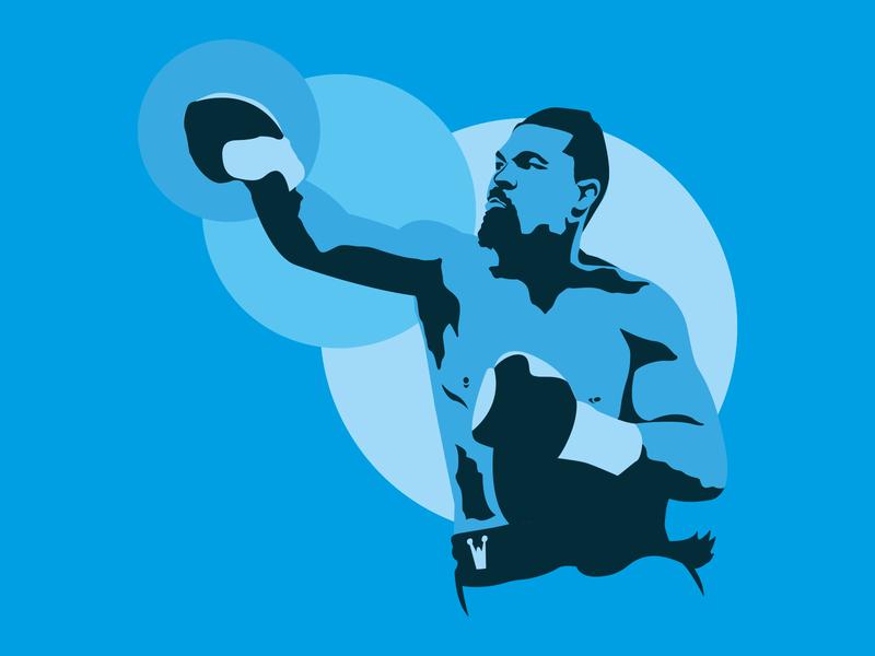 Joseph Parker adobe circles print blues boxer illustration art illustraion flat