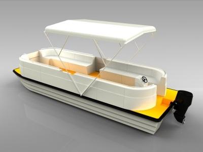 Katamarán katamaran 3d render boat orange white